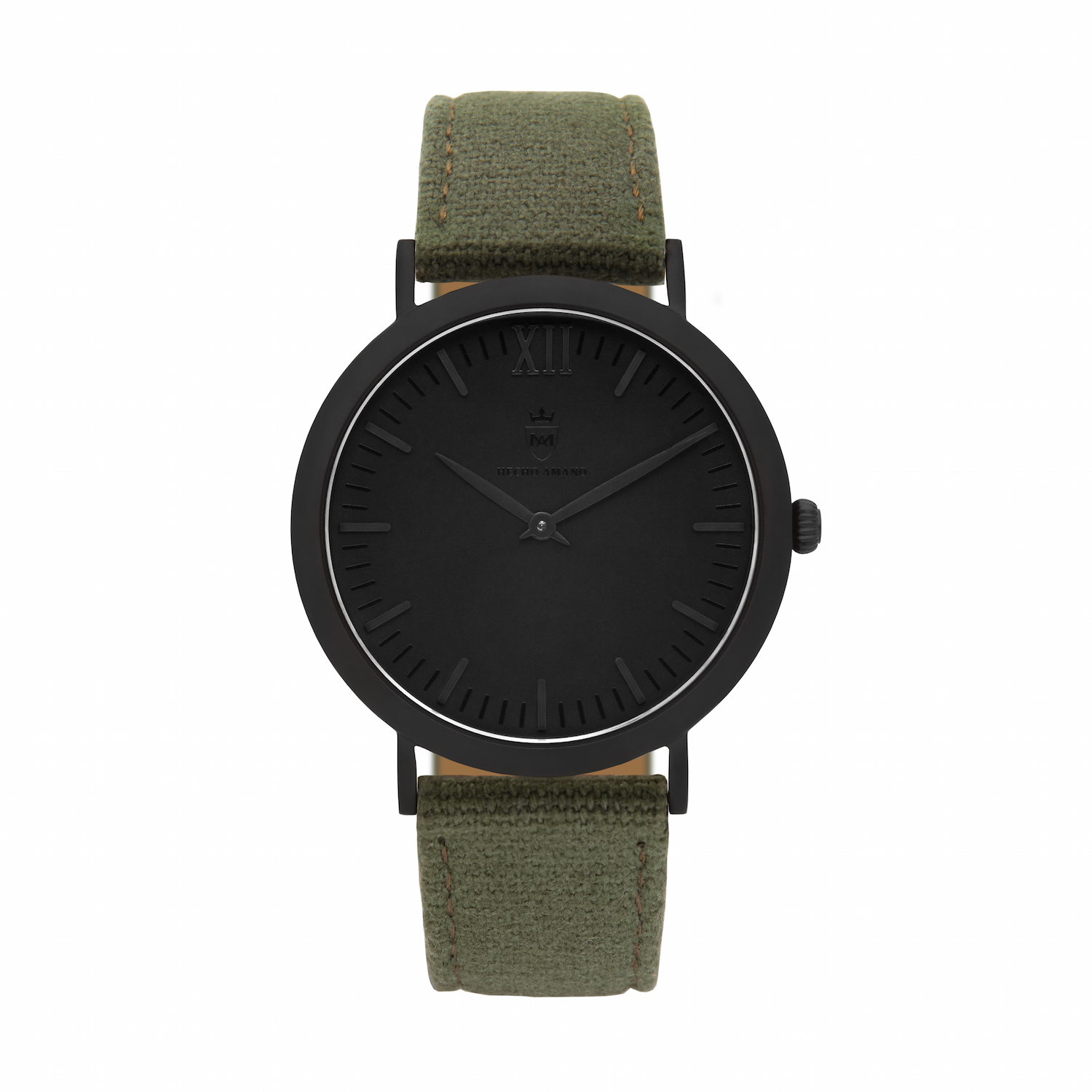 All Black Khaki Canvas Calf Leather