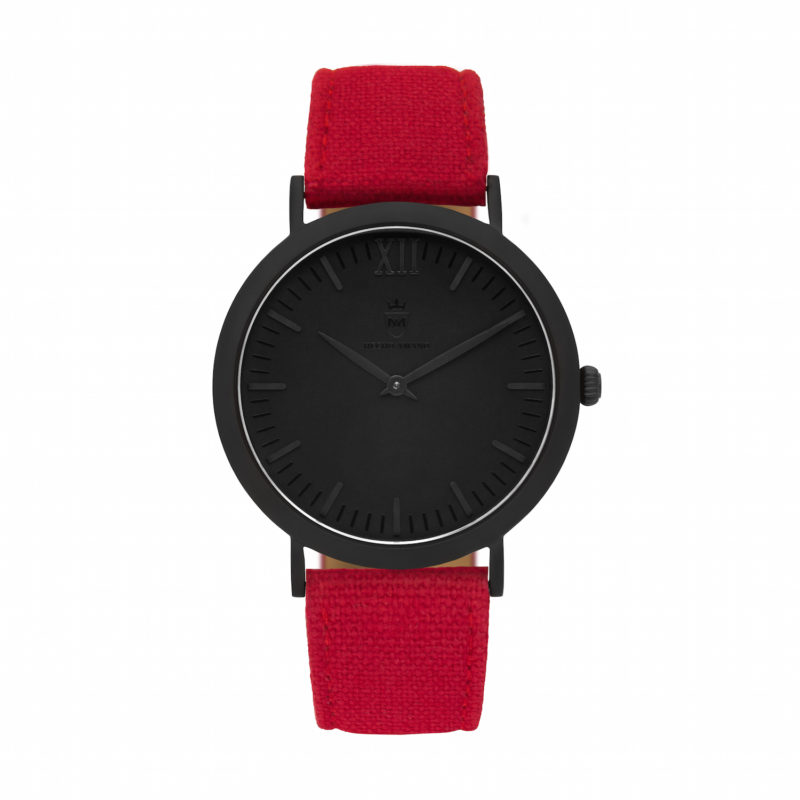 All Black Red Canvas Calf Leather