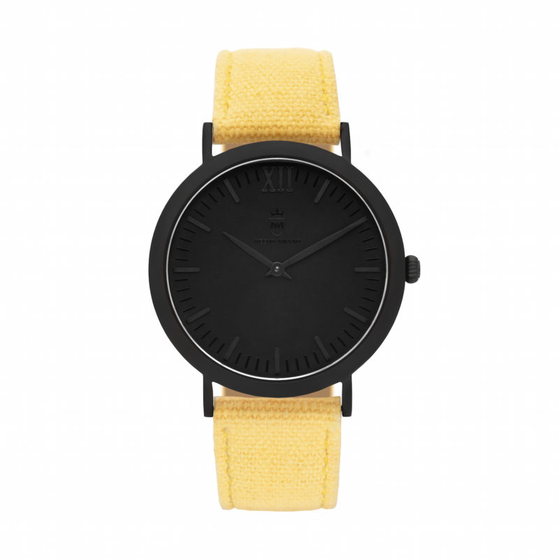 All Black Yellow Canvas Calf Leather