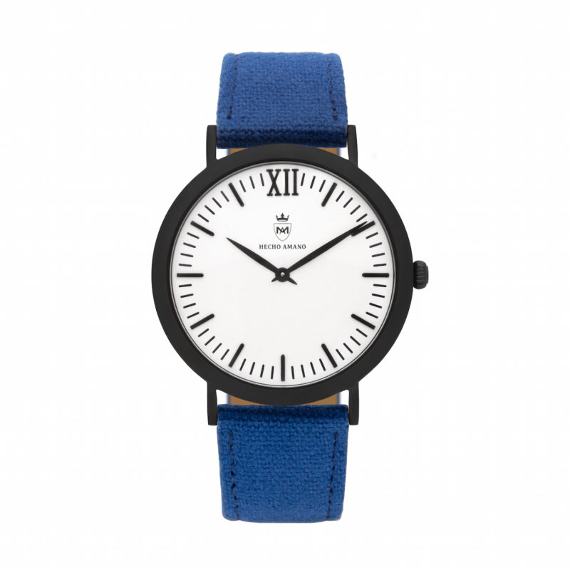 Black Blue Canvas Calf Leather