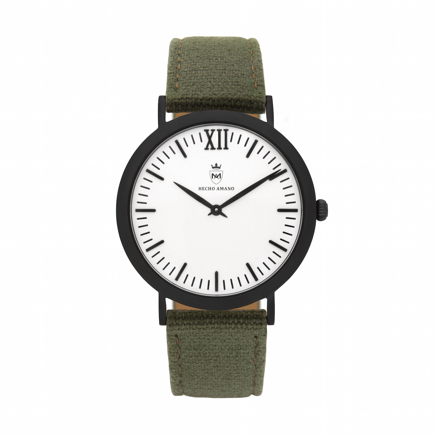 Black Khaki Canvas Calf Leather