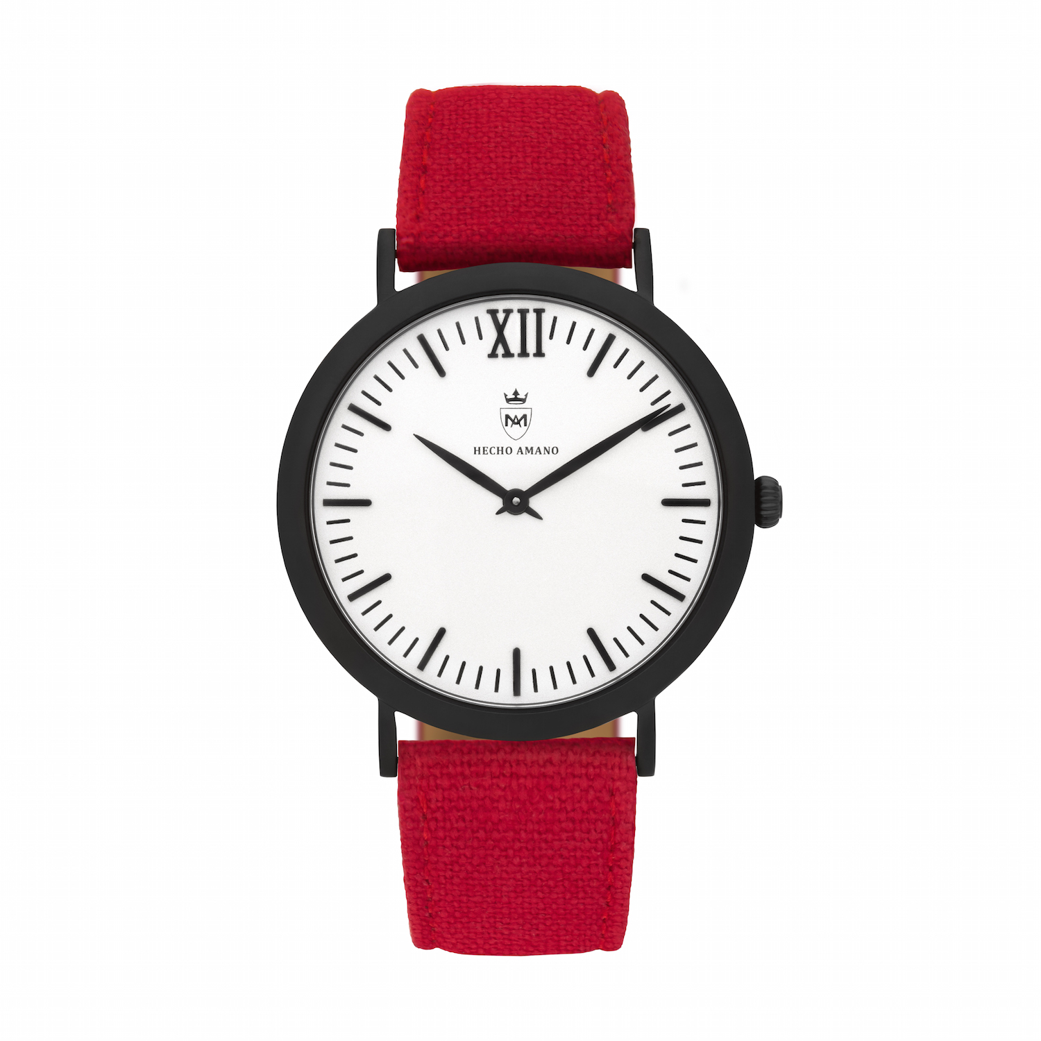 Black Red Canvas Calf Leather