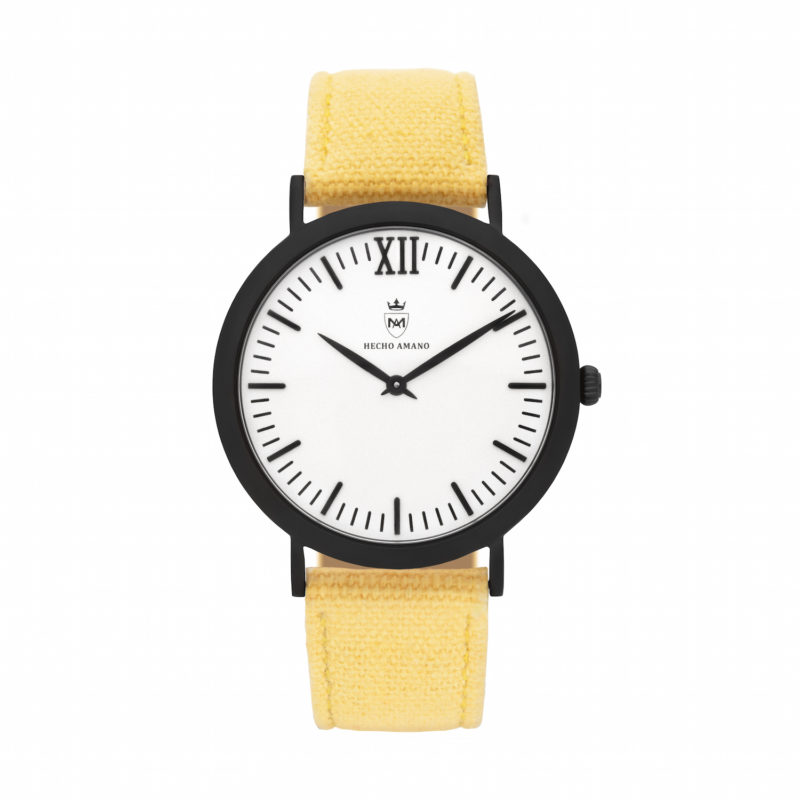 Black Yellow Canvas Calf Leather