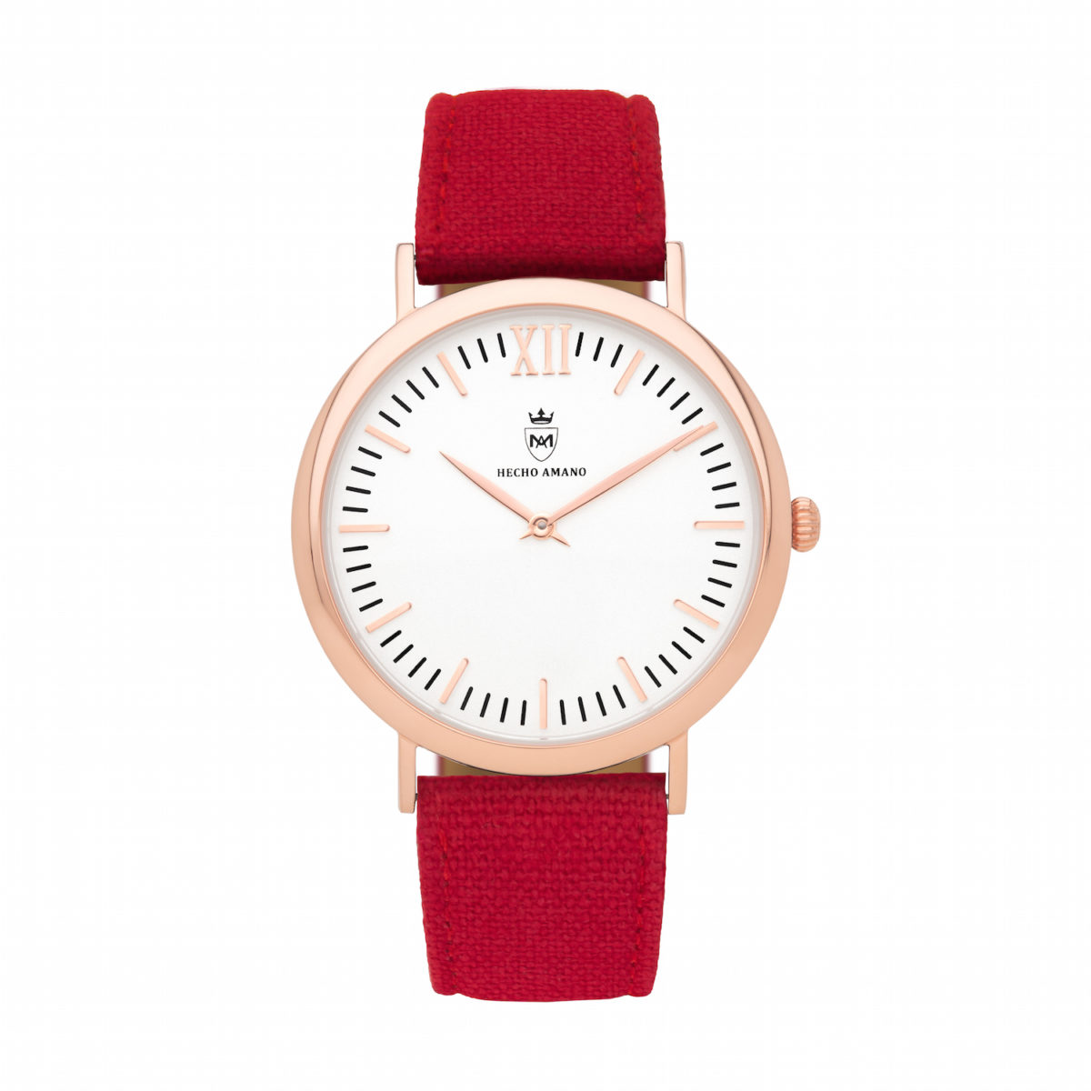 Rose Red Canvas Calf Leather