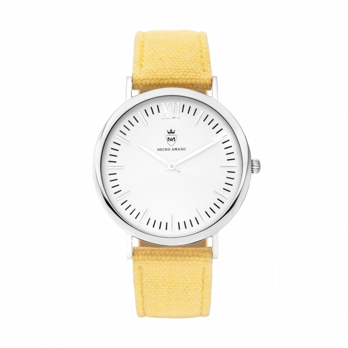 Silver Yellow Canvas Calf Leather
