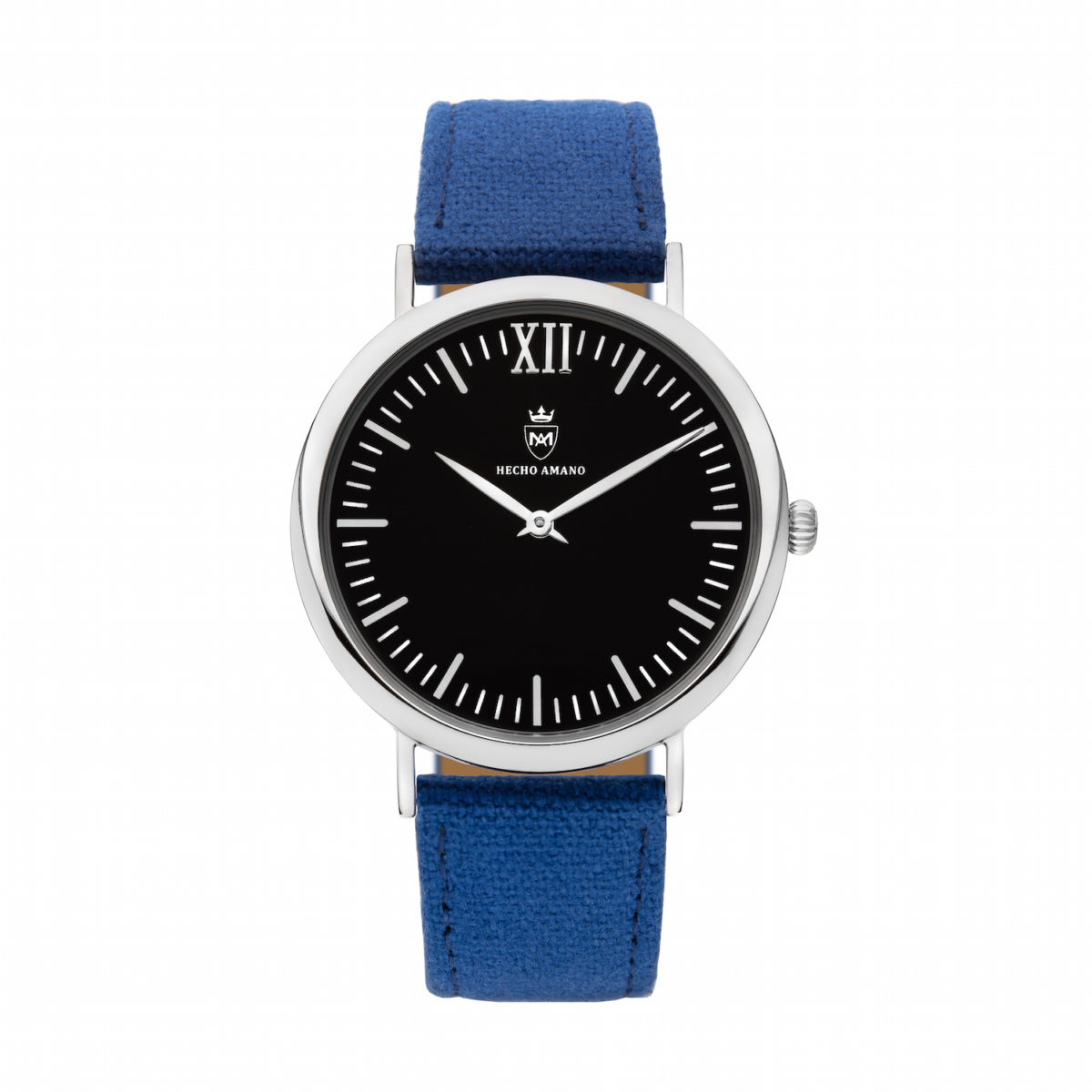 Silver Black Blue Canvas Calf Leather