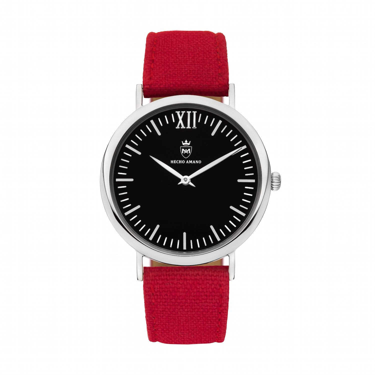 Silver Red Canvas Calf Leather