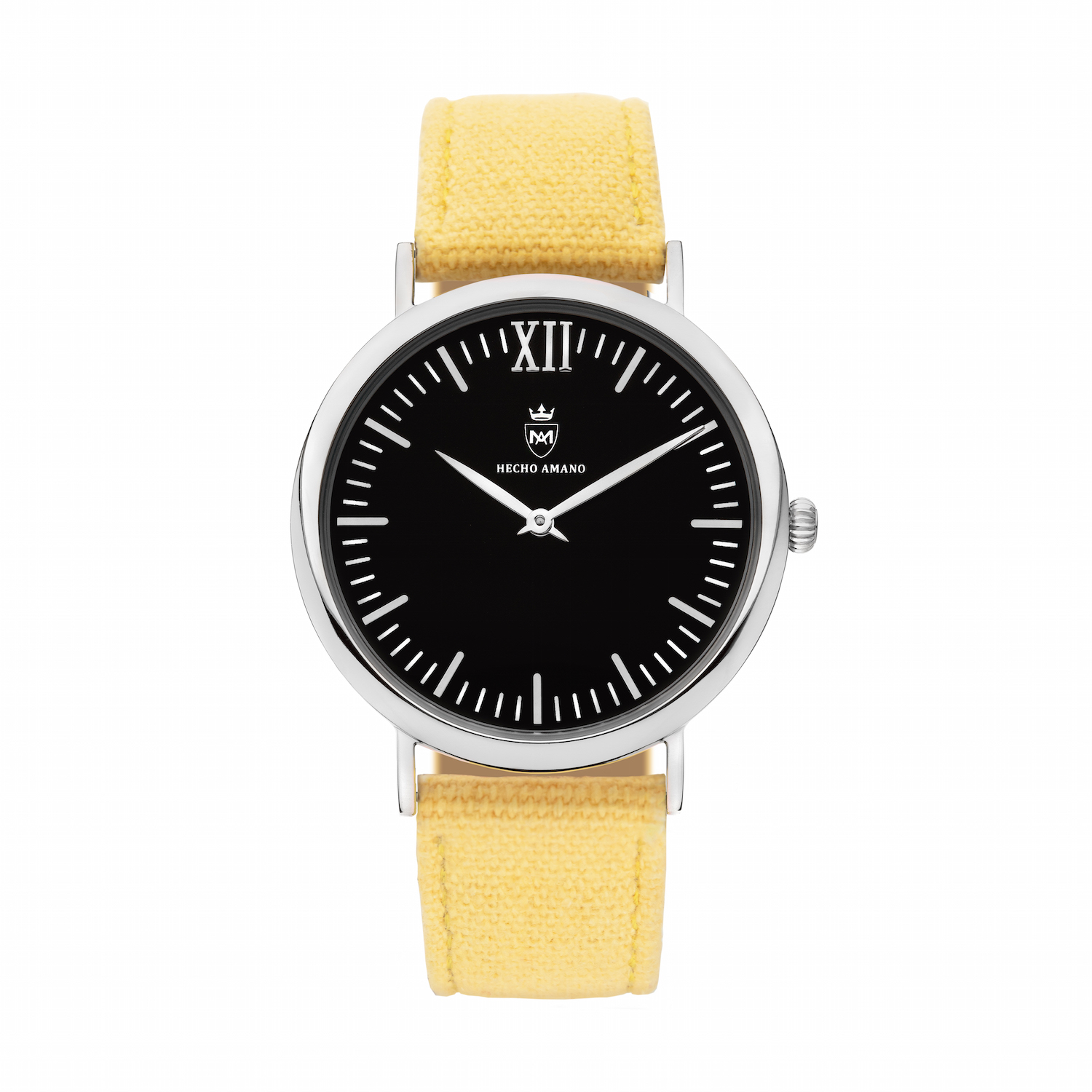 Silver Black Yellow Canvas Calf Leather